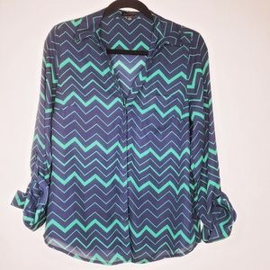 The Limited Navy & Green Chevron Button Down